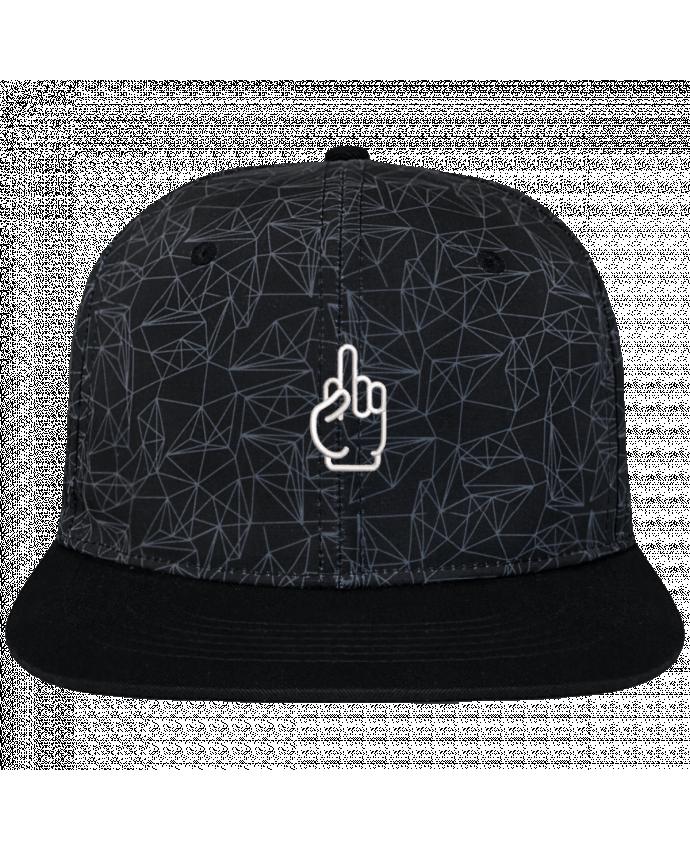 Casquette SnapBack Couronne Graphique Géométrique Fuck brodé avec toile imprimée et visière noire
