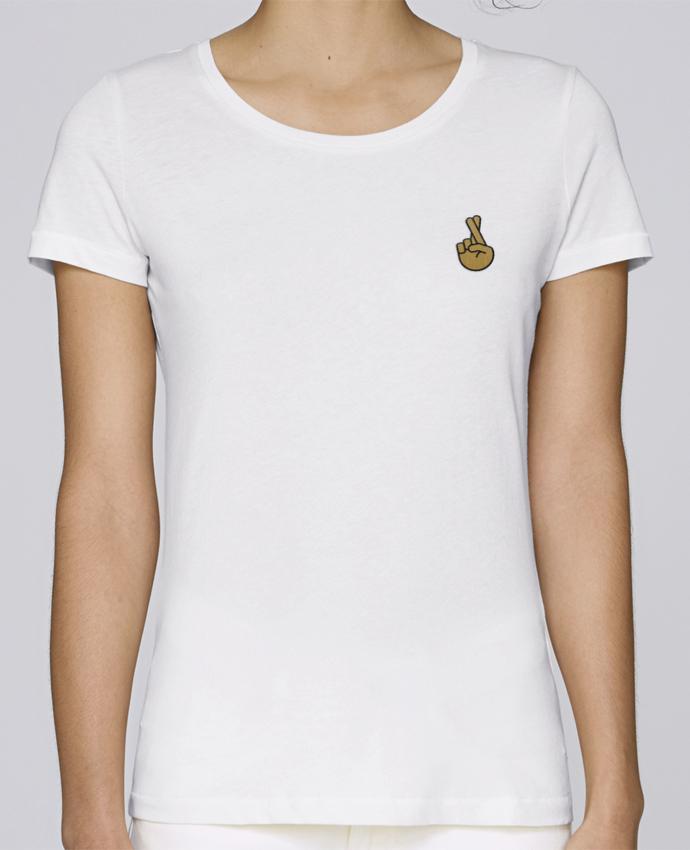 T-shirt  Femme Brodé Doigts croisés yellow par tunetoo