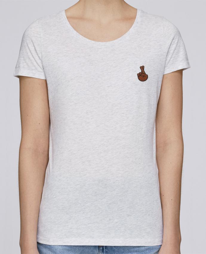 T-shirt  Femme Brodé Doigts croisés black par tunetoo