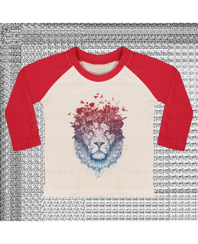 T-shirt Bébé Baseball Manches Longues Floral lion III par Balàzs Solti
