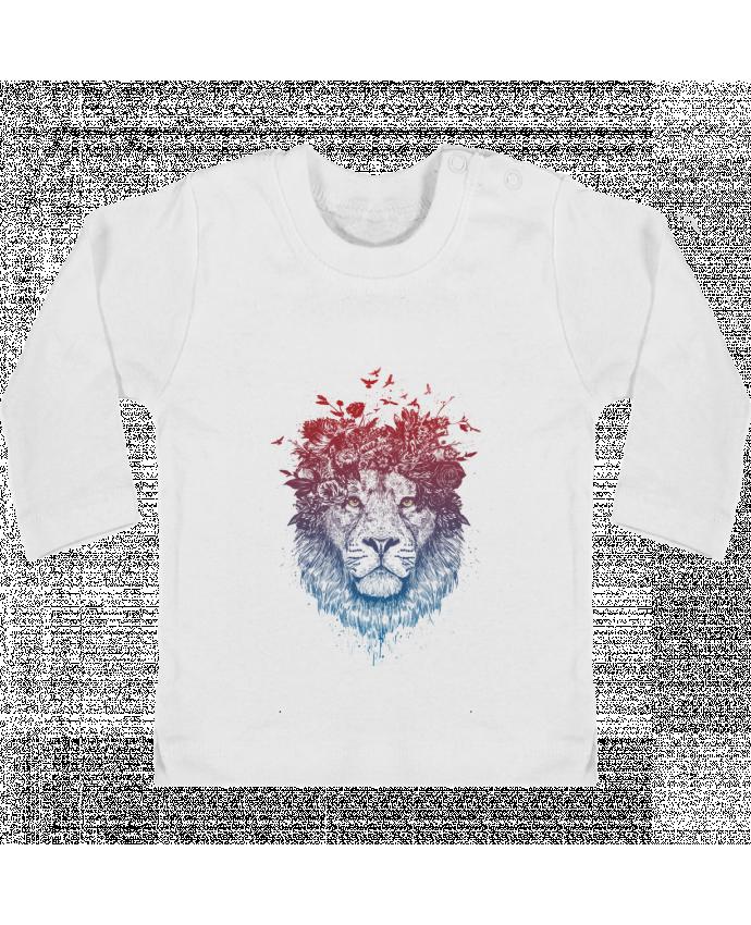 T-shirt Bébé Manches Longues Boutons Pression Floral lion III manches longues du designer Balàzs Solti