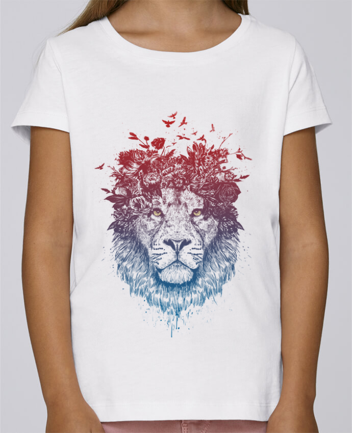 T-shirt Fille Mini Stella Draws Floral lion III par Balàzs Solti