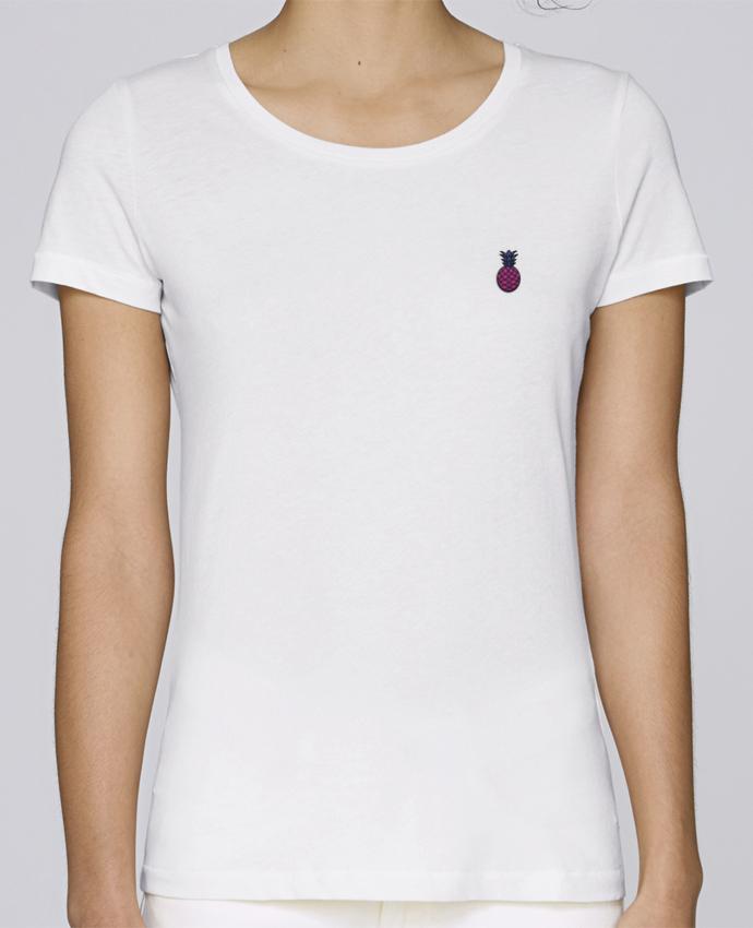 T-shirt  Femme Brodé Ananas violet par tunetoo