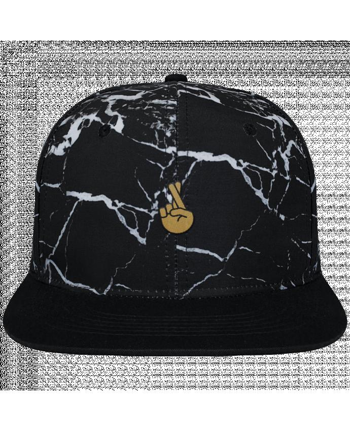 Casquette SnapBack Couronne Graphique Minéral Noir Doigts croisés yellow brodé et toile imprimée motif minéral noir et