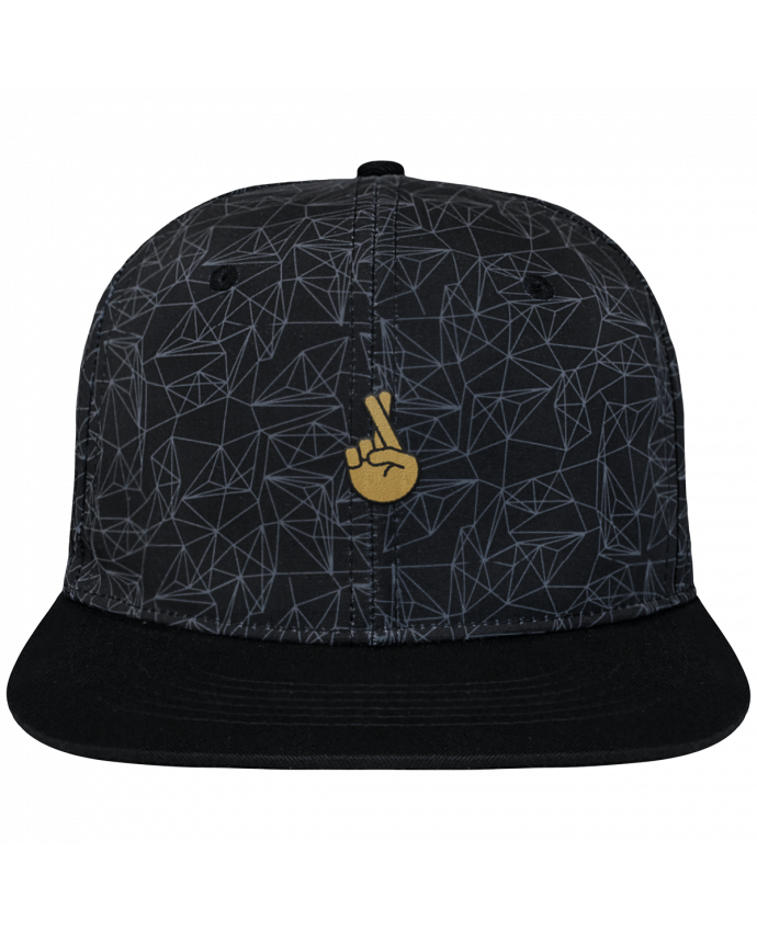 Casquette SnapBack Couronne Graphique Géométrique Doigts croisés yellow brodé avec toile imprimée et visière noire
