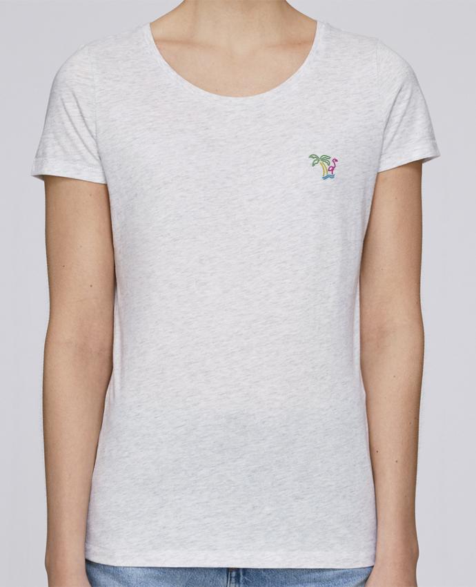 T-shirt  Femme Brodé Island Flamingo par tunetoo