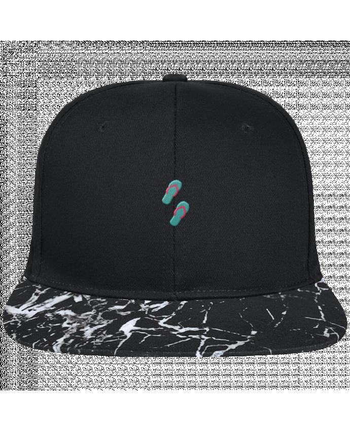 Casquette SnapBack Visière Graphique Noir Minéral Tongues brodé avec toile noire 100% coton et visière imprimée motif