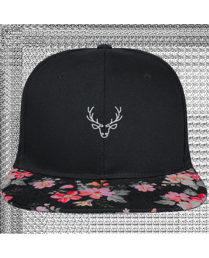 Casquette SnapBack Visière Graphique Noir Floral Cerf brodé et visière à motifs 100% polyester et toile coton
