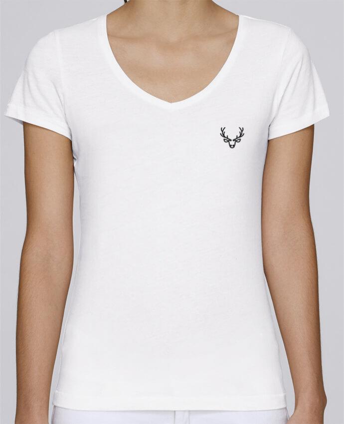 T-shirt femme brodé Stella Chooses Cerf par tunetoo
