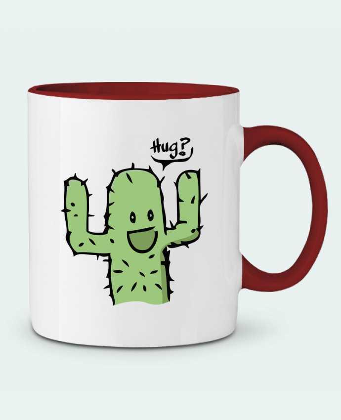 Mug en Céramique Bicolore cactus calin gratuit Tête Au Carré