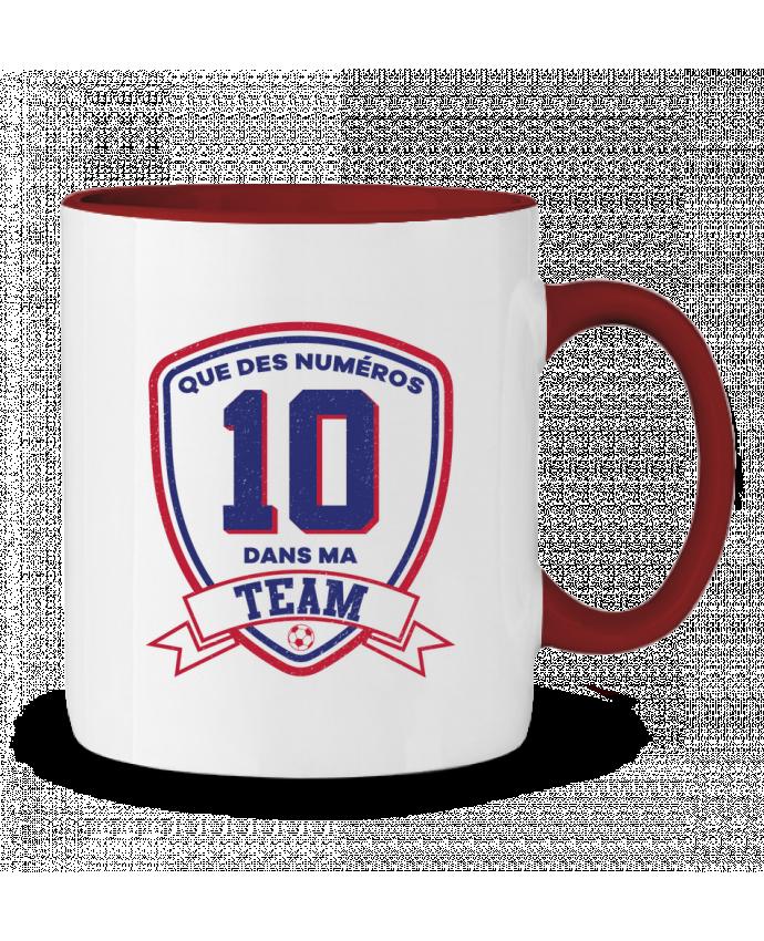 Mug en Céramique Bicolore Que des numéros 10 dans ma team tunetoo