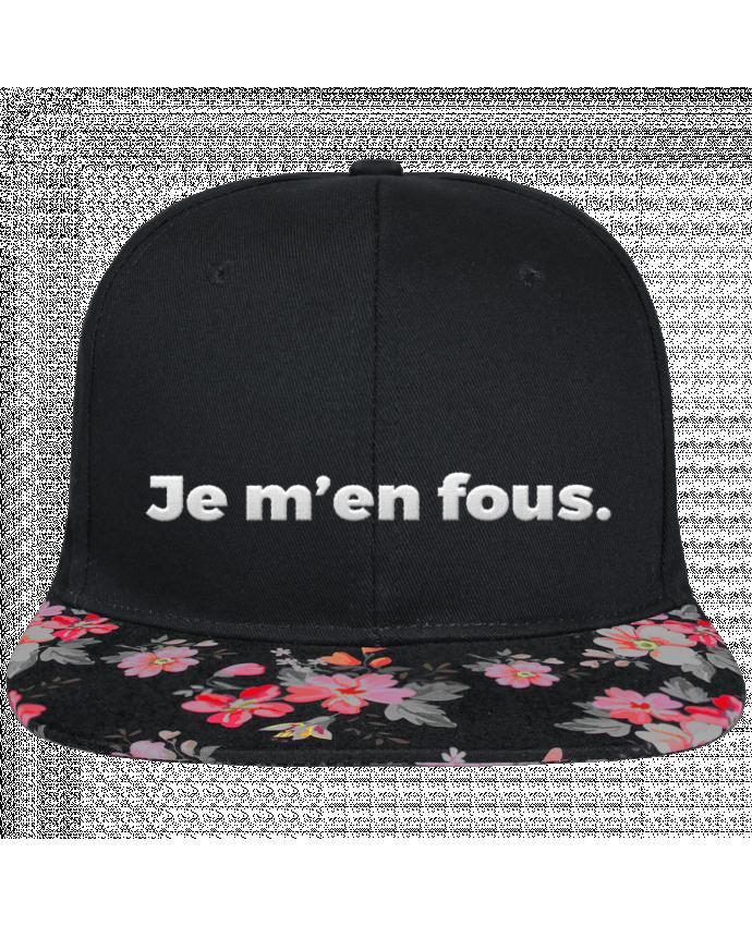 Casquette SnapBack Visière Graphique Noir Floral Je m'en fous. brodé et visière à motifs 100% polyester et toile coton