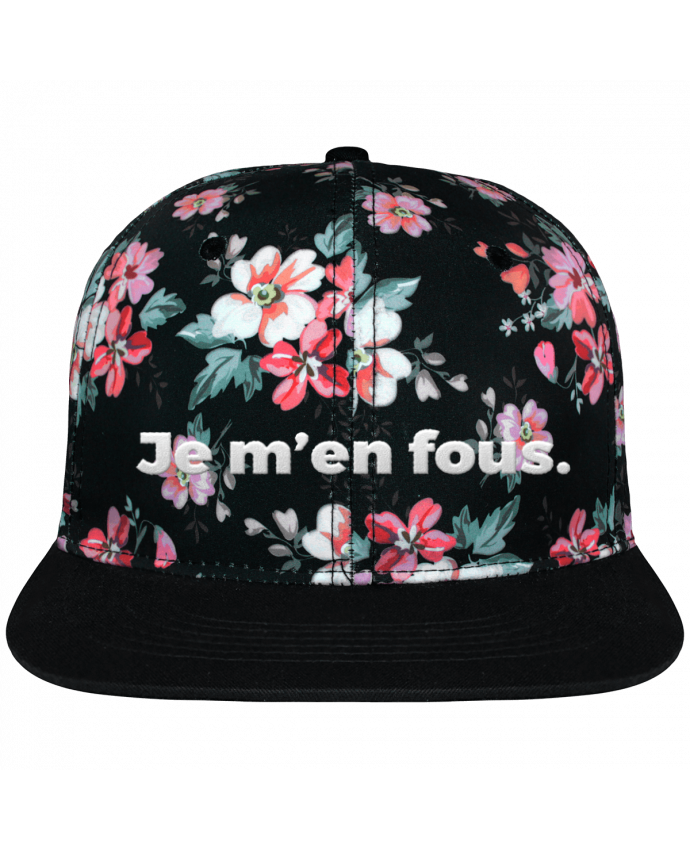 Casquette Snapback Couronne Graphique Floral Noir Je m'en fous. brodé avec toile motif à fleurs 100% polyester et vi