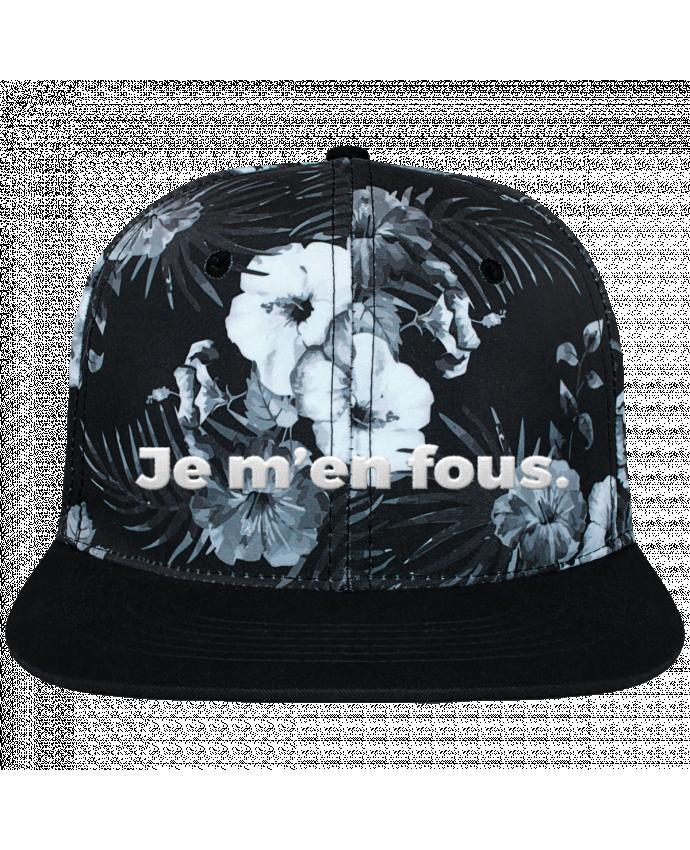 Casquette SnapBack Couronne Graphique Hawaii Je m'en fous. brodé et toile imprimée motif floral noir et