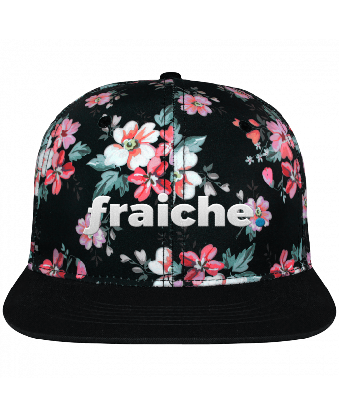 Casquette Snapback Couronne Graphique Floral Noir fraiche. brodé avec toile motif à fleurs 100% polyester et visière n