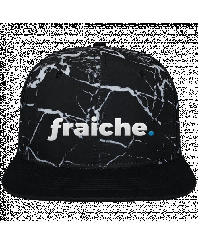 Casquette SnapBack Couronne Graphique Minéral Noir fraiche. brodé et toile imprimée motif minéral noir et blanc