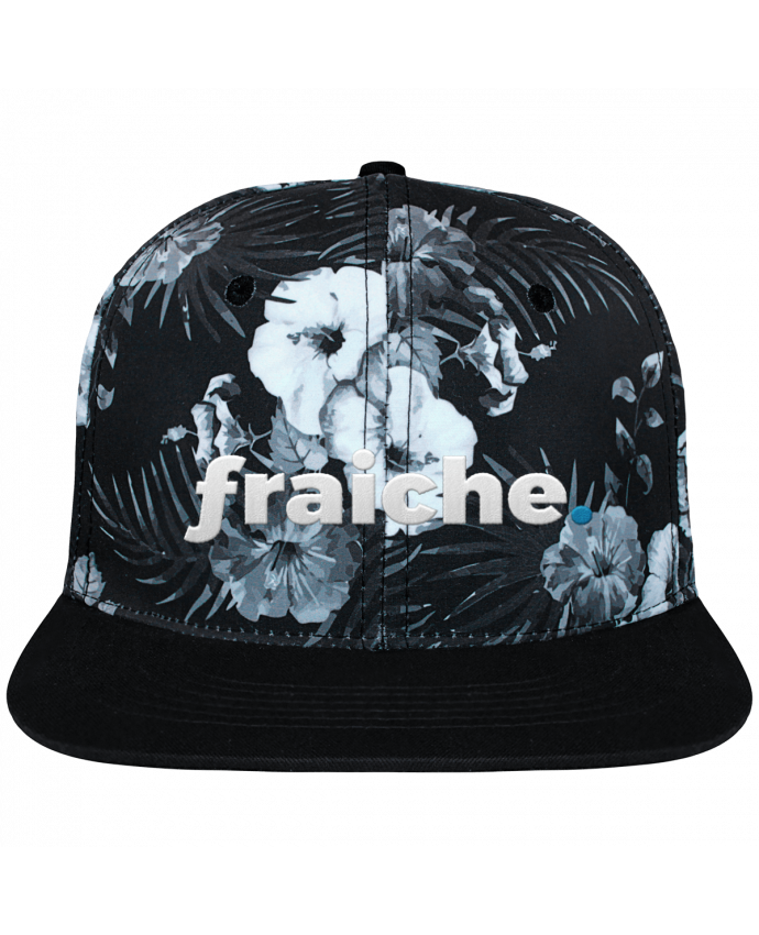 Casquette SnapBack Couronne Graphique Hawaii fraiche. brodé et toile imprimée motif floral noir et blanc