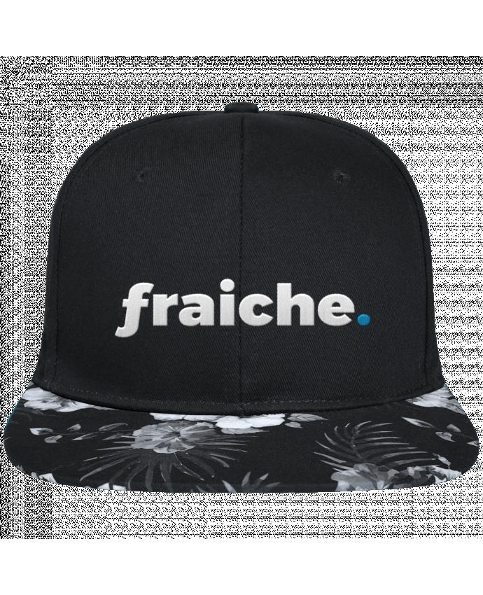 Snapback black hawaiian fraiche. brodé avec toile noire 100% coton et visière imprimée fleurs 100% p