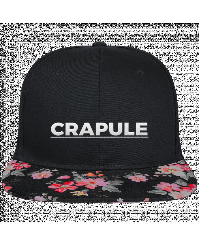 Casquette SnapBack Visière Graphique Noir Floral Crapule brodé et visière à motifs 100% polyester et toile coton