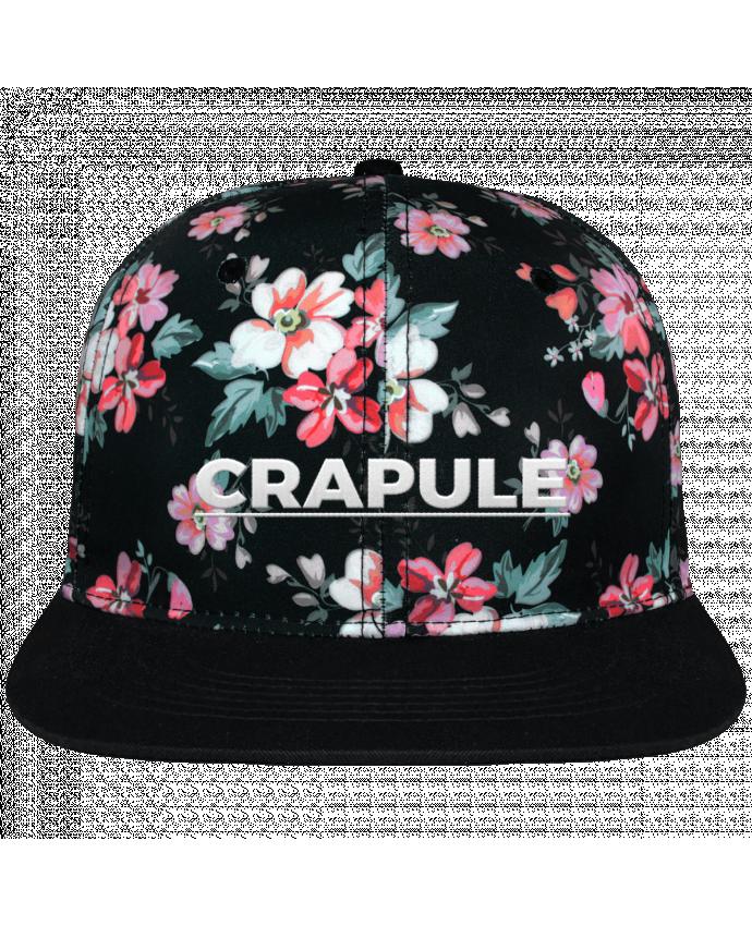 Casquette Snapback Couronne Graphique Floral Noir Crapule brodé avec toile motif à fleurs 100% polyester et visière no