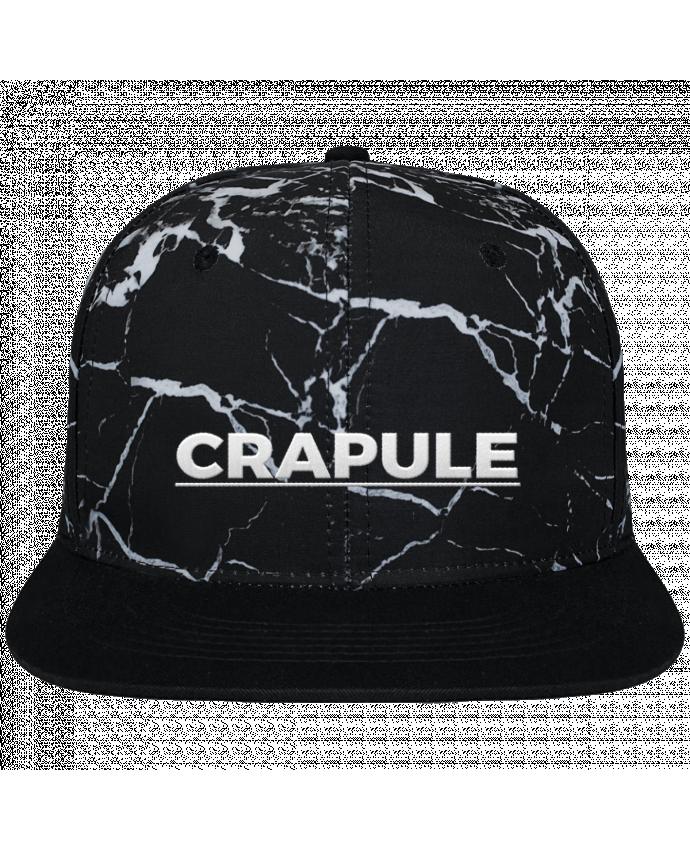 Casquette SnapBack Couronne Graphique Minéral Noir Crapule brodé et toile imprimée motif minéral noir et blanc