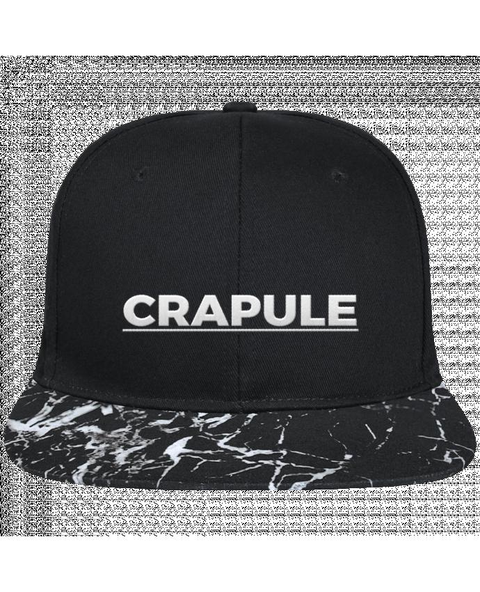 Casquette SnapBack Visière Graphique Noir Minéral Crapule brodé avec toile noire 100% coton et visière imprimée motif