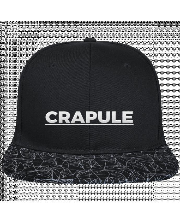 Casquette SnapBack Visière Graphique Noir Géométrique Crapule brodé avec toile noire 100% coton et visière imprimée 100