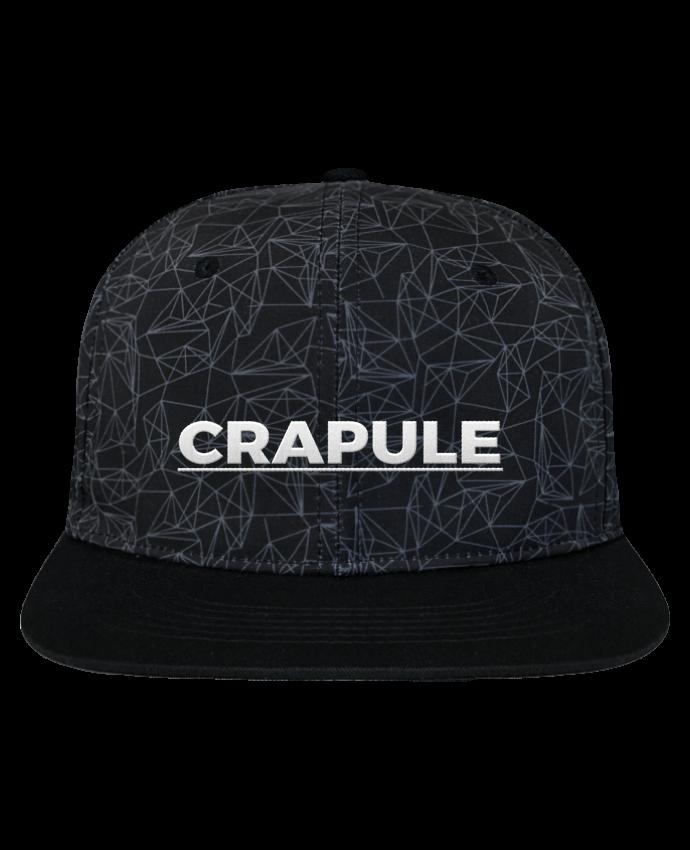 Casquette SnapBack Couronne Graphique Géométrique Crapule brodé avec toile imprimée et visière noire