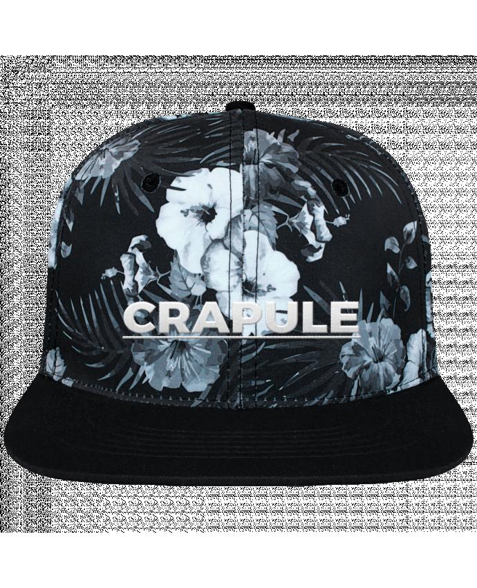 Casquette SnapBack Couronne Graphique Hawaii Crapule brodé et toile imprimée motif floral noir et blanc