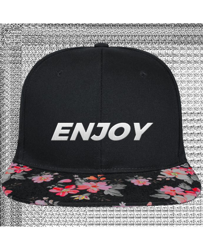 Casquette SnapBack Visière Graphique Noir Floral Enjoy brodé et visière à motifs 100% polyester et toile coton
