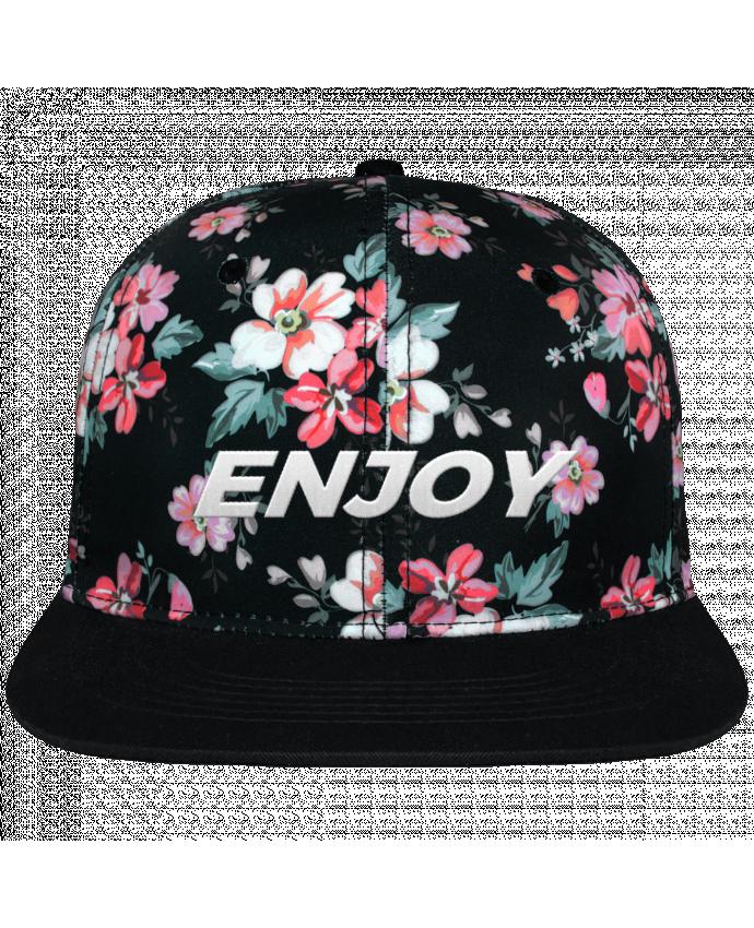 Casquette Snapback Couronne Graphique Floral Noir Enjoy brodé avec toile motif à fleurs 100% polyester et visière noir