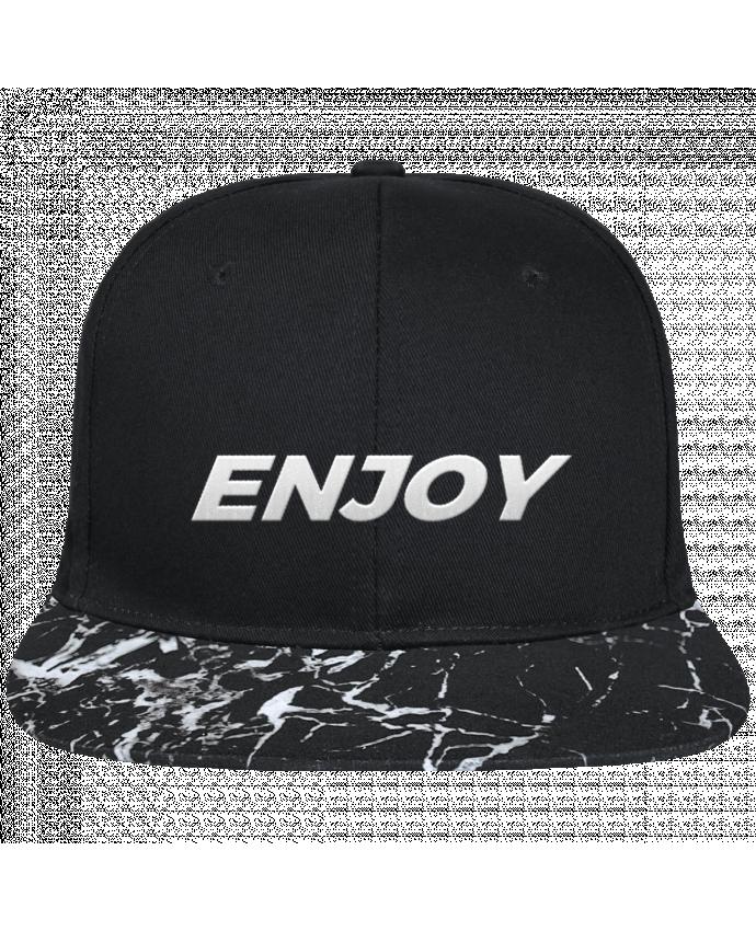Casquette SnapBack Visière Graphique Noir Minéral Enjoy brodé avec toile noire 100% coton et visière imprimée motif mi