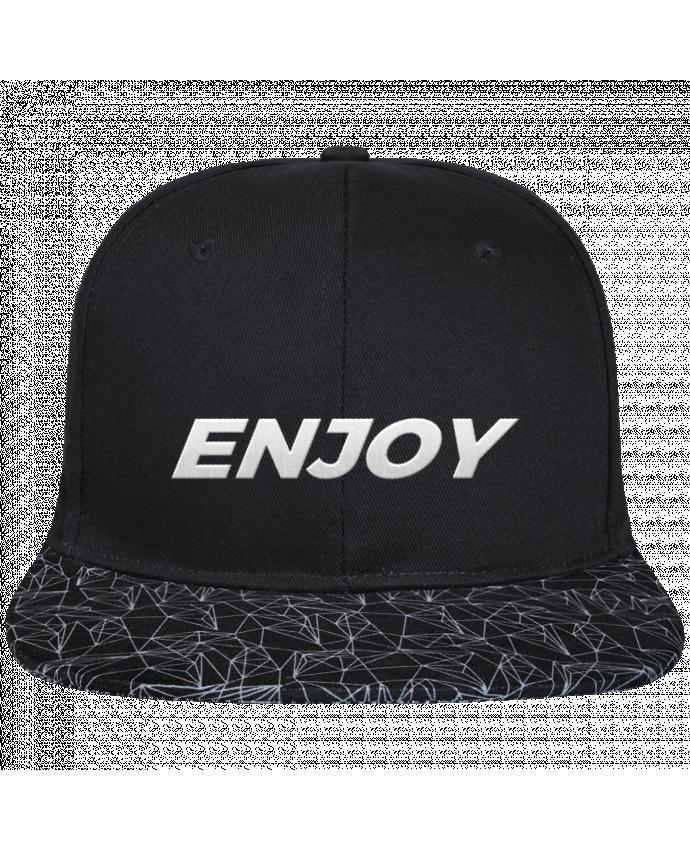 Casquette SnapBack Visière Graphique Noir Géométrique Enjoy brodé avec toile noire 100% coton et visière imprimée 100%