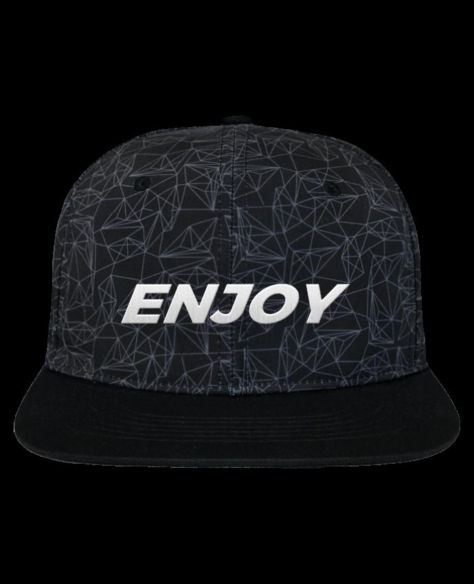 Casquette SnapBack Couronne Graphique Géométrique Enjoy brodé avec toile imprimée et visière noire