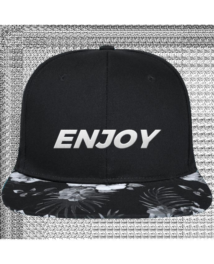 Casquette SnapBack Visière Graphique Fleur Hawaii Enjoy brodé avec toile noire 100% coton et visière imprimée fleurs 100% poly