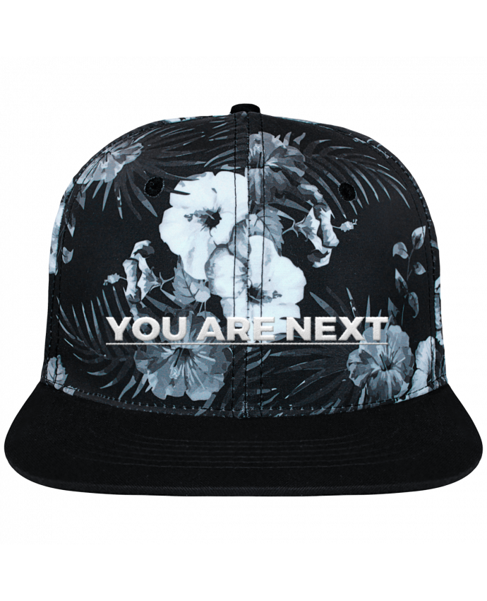 Casquette SnapBack Couronne Graphique Hawaii You are next brodé et toile imprimée motif floral noir et bla