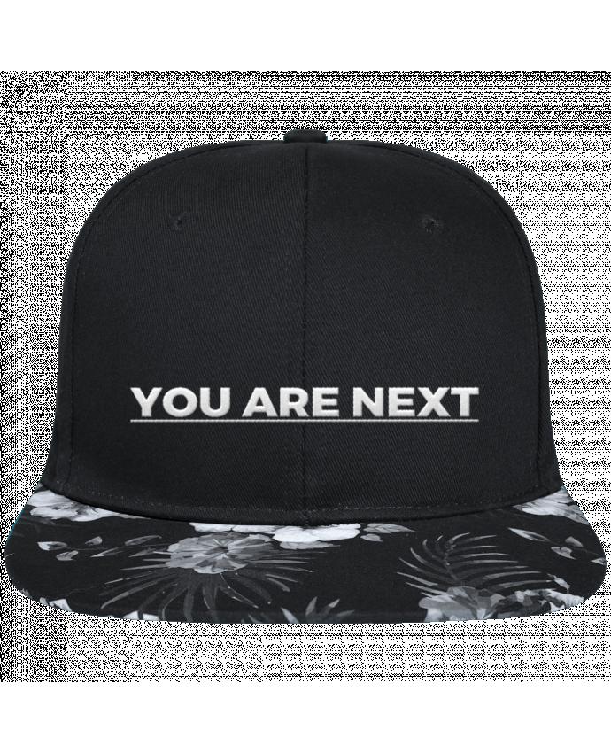 Casquette SnapBack Visière Graphique Fleur Hawaii You are next brodé avec toile noire 100% coton et visière imprimée fleurs 10