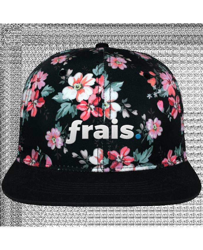 Casquette Snapback Couronne Graphique Floral Noir frais. brodé avec toile motif à fleurs 100% polyester et visière noi