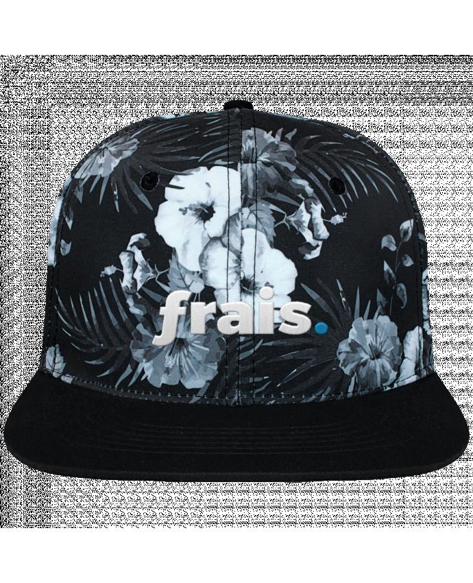 Casquette SnapBack Couronne Graphique Hawaii frais. brodé et toile imprimée motif floral noir et blanc