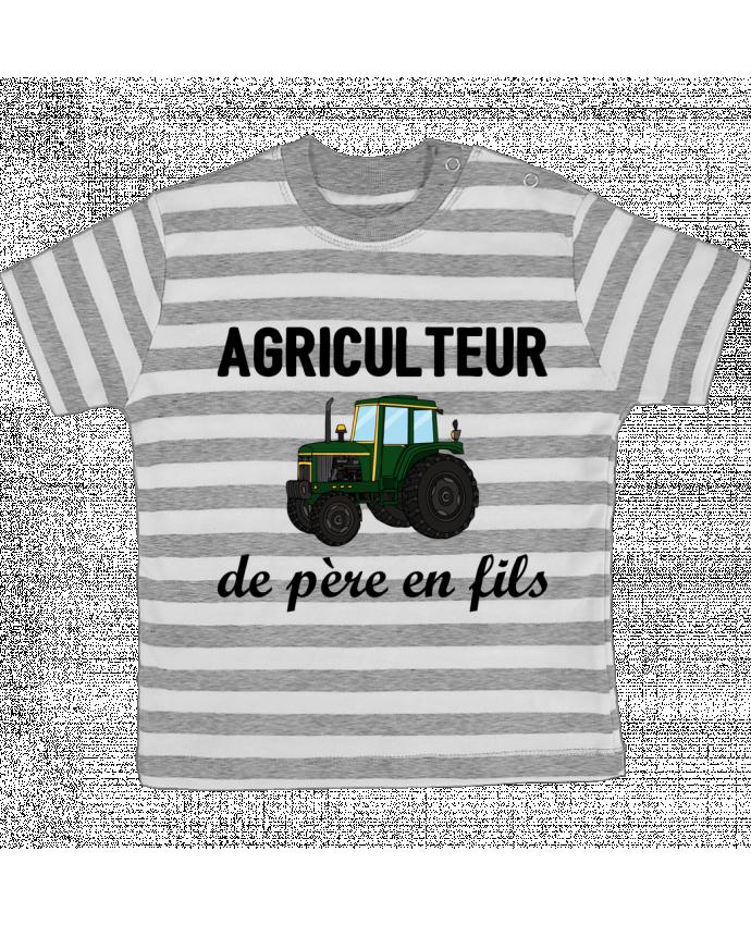 T-shirt Bébé à Rayures Agriculteur de père en fils par tunetoo
