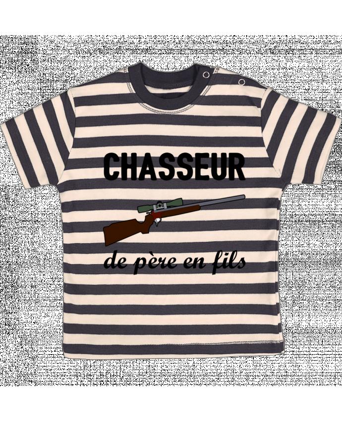T-shirt Bébé à Rayures Chasseur de père en fils par tunetoo