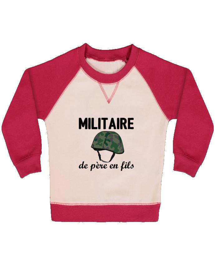 Sweat Shirt Bébé Col Rond Manches Raglan Contrastées Militaire de père en fils par tunetoo