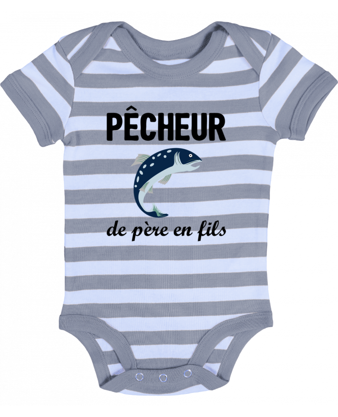 Body Bébé à Rayures Pêcheur de père en fils - tunetoo