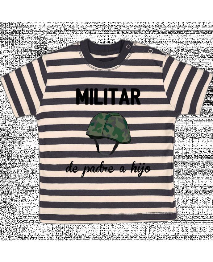 T-shirt Bébé à Rayures Militar de padre a hijo par tunetoo