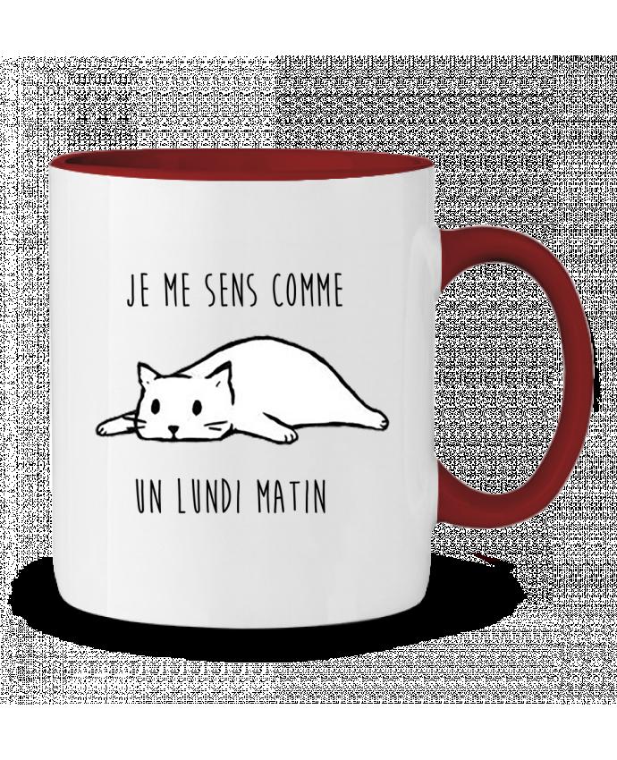 Mug en Céramique Bicolore chat - je me sens comme un lundi matin DesignMe