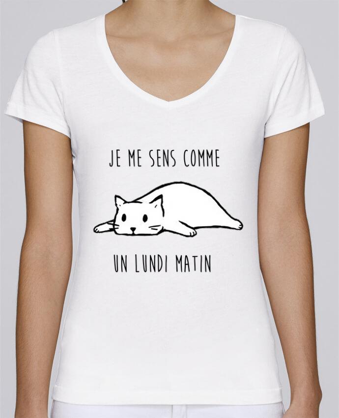 T-shirt Femme Col V Stella Chooses chat - je me sens comme un lundi matin par DesignMe