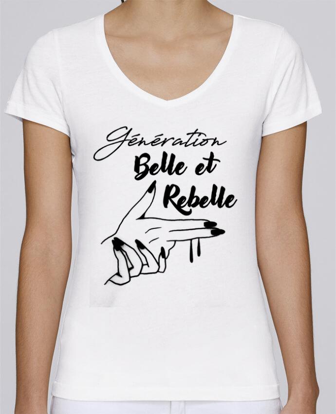 T-shirt Femme Col V Stella Chooses génération belle et rebelle par DesignMe