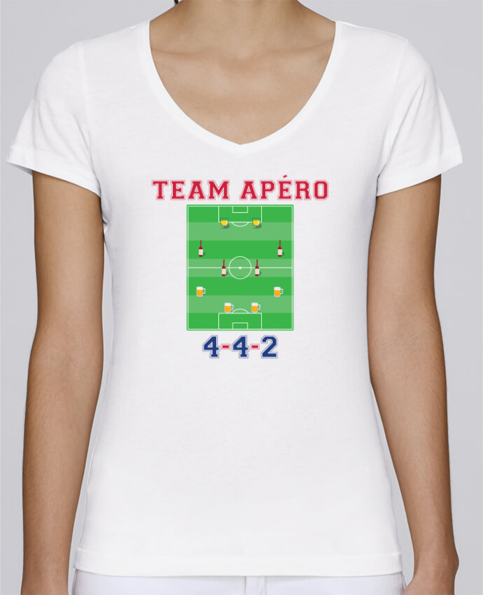 T-shirt Femme Col V Stella Chooses Team apéro football par tunetoo