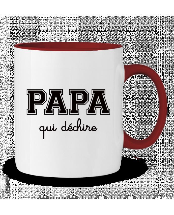 Mug en Céramique Bicolore Papa Qui Déchire Freeyourshirt.com