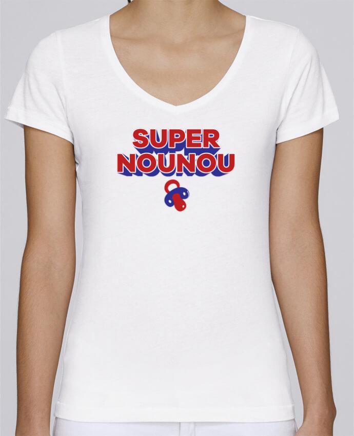 T-shirt Femme Col V Stella Chooses Super nounou par tunetoo